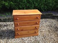 SOLID WOOD HONEY PINE CHEST OF DRAWS --FREE DELIVERY