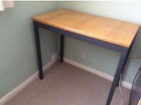 Light oak office table and pedestal.