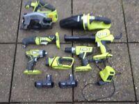 Ryobi cordless power tools........£225...,,.,