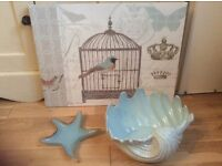 Duck egg blue bathroom accessories, large ceramic shell, canvas picture and glass jelly fish