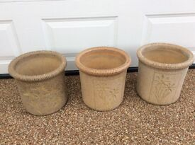 """3 ornamental plant pots. 1 foot high and 13"""" wide( 30cm by 33cm"""