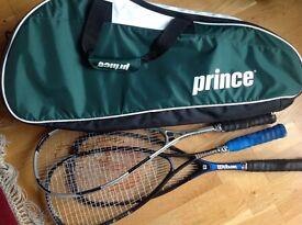 Prince Tennis /Squash Racquet Bag and 3 squash racquets