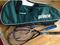 Prince Tennis /Squash Racquet Bag and 3 squash racquets