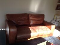 Brown Leather Sofa, very comfortable. Signs of use but very good condition.