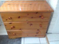 Pine Chest of three drawers