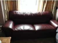 DHS Dark Red Leather 3 Seater/Three Seater Couch/Settee/Sofa