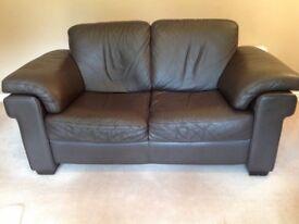 Natuzzi Top graded Chocolate Leather 2/3 seater sofa's