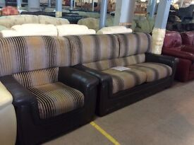 Brown leather/fabric stripe 3 seater & chair