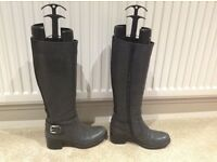 Ladies Grey Italian Genuine Leather Long / Knee High Boots By Vanilla Moon-Size 3 (EUR 36)