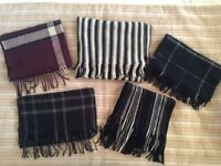 Large Selection of Seven (7) Men's Boys Winter Wool Scarves (Cashmere Tartan)