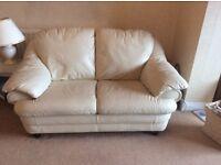Cream Italian Leather matching sofas