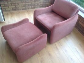 Low Backed Chair and Foot Stool
