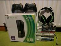 Xbox 360 S (250GB) with 14 games, two rechargeable controllers and turtle beach headset