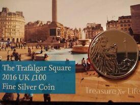The Trafalgar Square 2016 UK £100 Fine Silver Coin