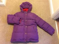 Girls Mini Boden Anorak. Padded and fleece lined age 9-10. Lovely condition, purple + a red lining