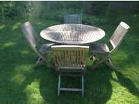 Teak hardwood garden table & 4 chairs patio set