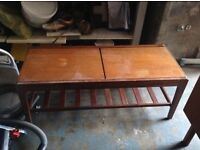 Retro teak coffee table with tiled centre