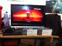 PS2 SLIM CONSOLE, 1 CONTROLLERS, MEMORY CARD AND 10 GAMES