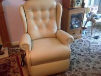 Ivory Leather Electric Riser/Recliner Chair