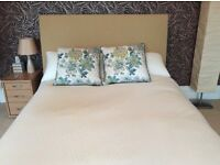 Wall mounted padded fabric bed head for double bed