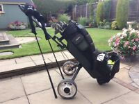 Men's hippo left handed golf clubs and trolley