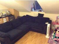 Black fabric Left hand facing formal back corner sofa