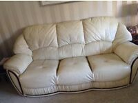 Three seater leather settee & armchair