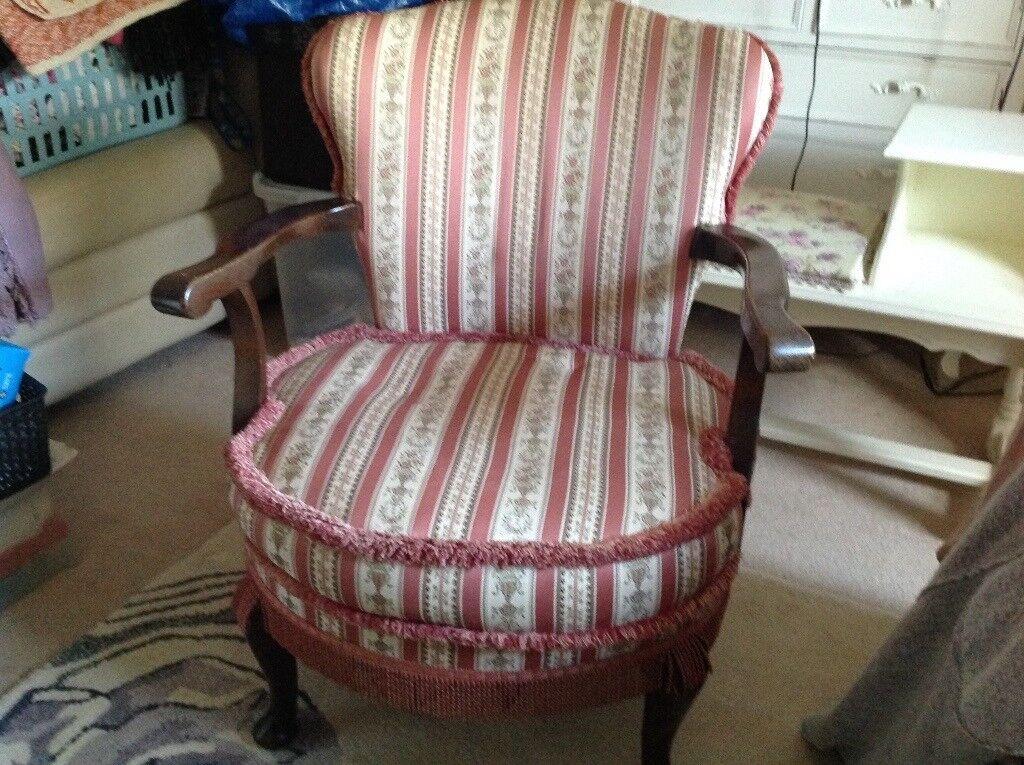 Regency pink stripe Victorian bedroom chair