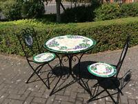 Circular Mosaic Bistro Table and 2no Chairs