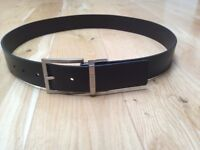 BRAND NEW Genuine Men's Guess Brand Black Leather Belt (Large - Fits 36 Inch Waist)