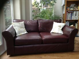 Large 2 seater burgundy leather M&S sofa and armchair