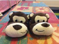 Kids monkey slippers size 5