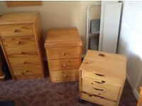 3 pinewood chest of drawers