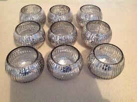 Candle holders. Silver look. Nice condition. Sell whole or separate.