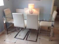 Glass top kitchen table, 6 ft x 3 ft (1828 x 914 mm)