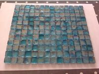 One sheet of Fire Earth turquoise glass mosaic tiles 30x26cm