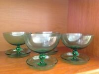 4 green retro glass footed dessert bowls