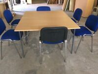Two Beech Fold Away Tables & Six Stacking Chairs
