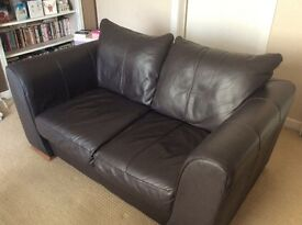 Two x 2/3 seater chocolate brown leather sofas in really good condition