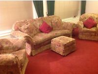 Three piece suite with foot stool