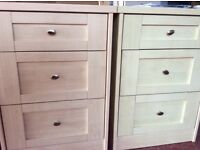 2 bedside cabinets, double drawers and ottoman.