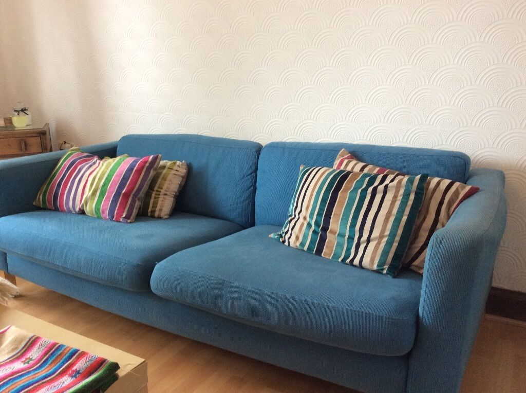 Ikea Aspelund Bedroom Furniture ~ IKEA blue fabric 3 seater sofa  in Broughton, Edinburgh  Gumtree
