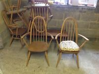 For Sale Set of Ercol Carver Chairs with Cushions, Good Condition
