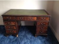 large 5ft, Antique Style, Leather Top Pedestal Desk, Chesterfield.