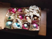 Old Glass Style Christmas Baubles in original boxes and tissue paper.