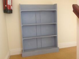 Shabby chic real wood book case duck egg blue