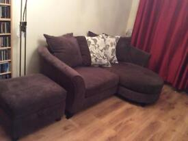 DFS 3 seater settee and storage pouffe