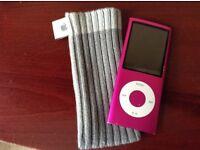 Apple IPod Nano 4th gen A1285 Pink + Sock Cover