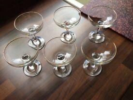Six Babycham glasses from circa 1960