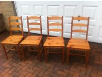 4 pine dining dining chairs in good sturdy condition